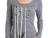 Birch Trees t-shirt, Women's long sleeve graphic t-shirt , Deer, Stag, Reindeer, Birds, Snow