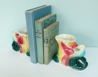 Pair of 1950s Pottery Planters, Colorful Birds of Paradise, Book Ends or Vases Made by American Bisque