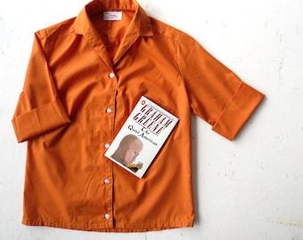 Vintage 1960s Blouse / Pumpkin Curry / Orange Blouse / 60s Blouse / Small S