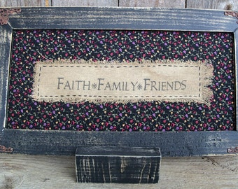 Faith Family Friends Stitchery, Rustic, Country, Framed, Saying, Floral, Flowers, Home Decor, Picture, Handmade