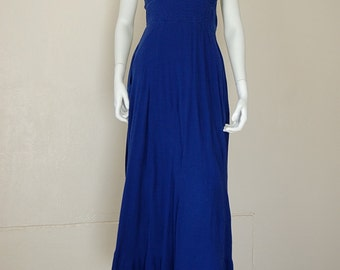 Halter Maxi Dress Vintage Dark Blue Boho Hippie Smocked Gauze Halter Maxi Dress (s)