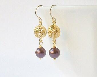 Wine Pearl Dangle Earrings, Pearl Dangle Drop Earrings