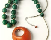 Tagua Necklace - Tangerine Orange & Emerald Green / Eco Friendly