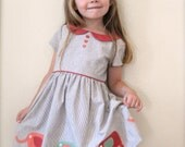 GIRLS Dress PATTERN, The Vintage Kate Dress, sizes included to fit ages 2-6, instant digital download,  Peter Pan collar