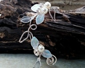 White Fairy Wedding Ear Cuff Ear Climber, No Piercing, Fairytale Bohemian Winter Wedding Elven Jewelry, Ear Jacket, Bridal Ear Cuff