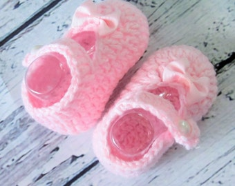 Baby girl pink mary jane Booties crochet booties mary jane shoes pink bow Easter