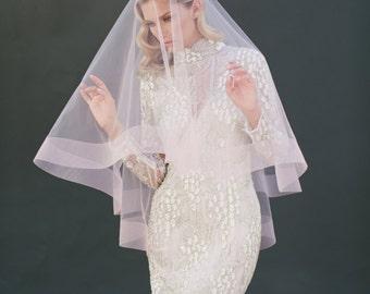 "3"" Horsehair Veil, Drop Veil, Bridal Wedding Veil, Pink Blush Tulle Veil, Ribbon Edge Veil, Long Veil, Two Tier Veil, Ivory Veil, #1203-3"""