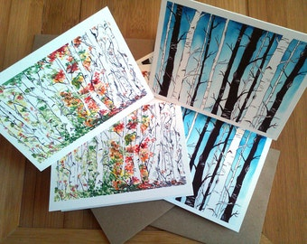 Note Card Set, Woodland, Blank Cards, Nature Cards, Nature Lover, Woods, Birch Forest, Four Seasons, Notecards, Boxed Cards, Set of 6, Trees