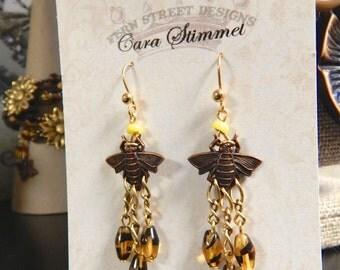 Honey Bee Earrings, Bee Earrings, Bee Jewelry, Bee Chandelier Earrings, Bumble Bee Earrings, Insect Jewelry, Apilculture, Bug Earrings