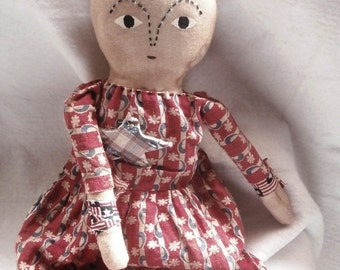 Primitive Handmade  Folk Art Doll - I Love America Lady Liberty - Little Liberty