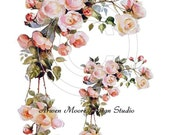 Victorian Beautiful Vintage Chic Shabby Pink Roses Boder Waterslide Water Slide Decals Decal De-Ro-181