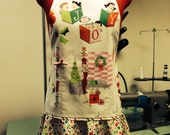 SALE Christmas Holiday apron halter style and flirty skirt in a 50's-style, vintage-looking print