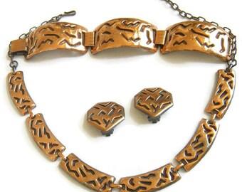 Vintage Modernist Copper Necklace, Bracelet and clip Earrings Demi Parure Set