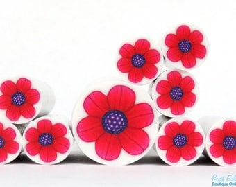 Red & Pink Polymer clay Flower cane , raw and unbaked polymer clay millefiori Fimo cane by Ronit Golan