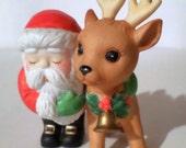 Vintage Enesco Santa and Reindeer Figurine - Santa Reindeer - Christmas Decor - 1988 Enesco Santa & Reindeer Collectible Figurine