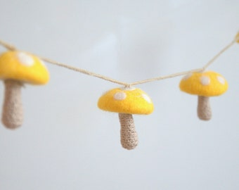 Felted crochet mushrooms garland Alice in Wonderland nursery decoration toadstool yellow white dots baby shower gift woodland Birthday party