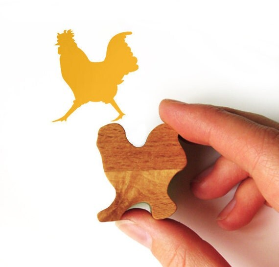 Cockerel Rubber Stamp, Chicken Stamp with Wooden Handle