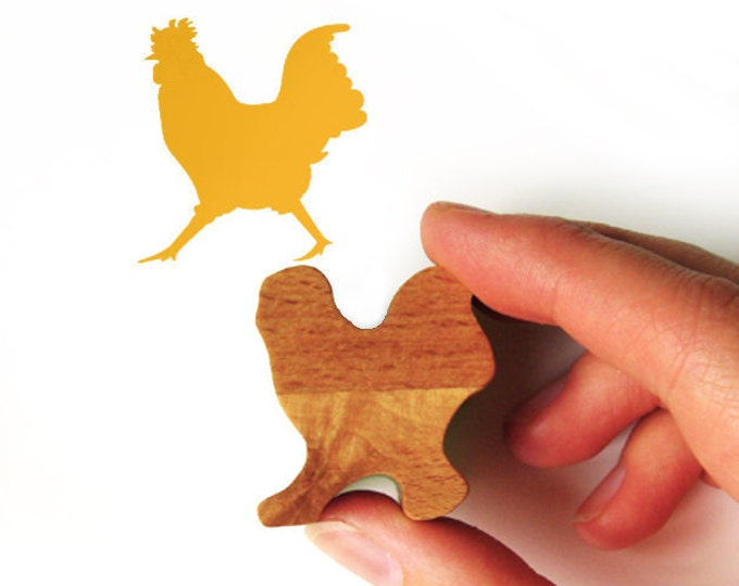 Cockerel Rubber Stamp, Chicken Stamp with Carved Wood Handle