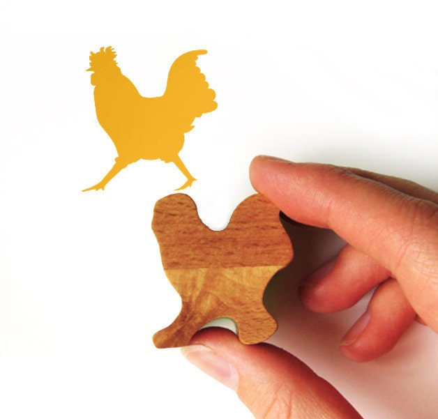 Strutting Chicken Rubber Stamp with Wooden Handle