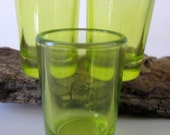 Lime Green Shooter Cut Glass Crystal Cordial Juice Shot Glass Mexico Depression