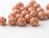Etched Orange White Etched Acrylic Bicone Beads 12mm (20)