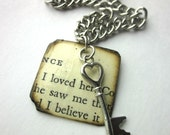 Book charm necklace necklace, literary necklace, book jewelry, paper bead, Short Stories