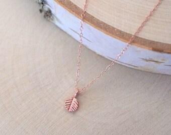 Petite Rose Gold Leaf Necklace, Gold Vermeil Leaf Necklace, Rose Gold Leaf Charm Necklace, Vermeil Tiny Leaf Pendant, Rose Gold Filled Chain