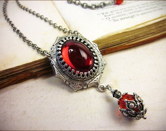 Ruby Medieval Necklace, Red Pendant,  Renaissance Jewelry, Tudor, Handfasting, Bridesmaid, Garb, Ren Faire, Wedding, Choose Your Own Color