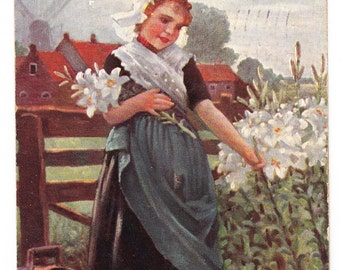 vintage Postcard Sun Bonnet Girl Picking Flowers SATURDAY Day of Week 1916