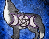 Triple Goddess Moon Phase Wolf Patch  Iron on Patch or Sew on
