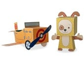 Dog and Airplane 3d paper craft kit,  toy play set for children. Instant download pdf