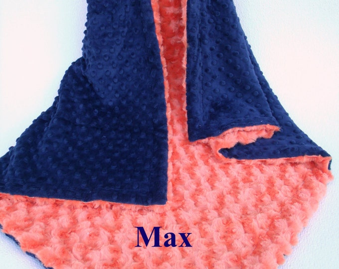 Orange Swirl and Navy Minky Dot Baby Blanket