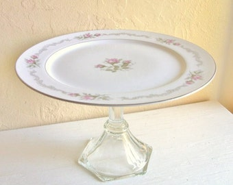 Elegant Cake Plate Dessert Pedestal Dish Mauve Roses and Silver Trim First Love