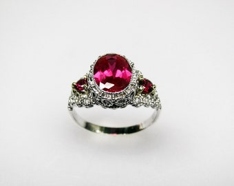 Gatsby Style Ruby Filigree Ring in 14K Recycled Gold