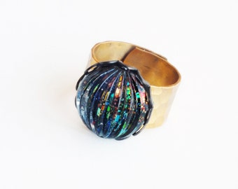 Rainbow Glitter Ring Vintage Glass Black Holographic Glitter Adjustable Nail Polish Ring Jewelry