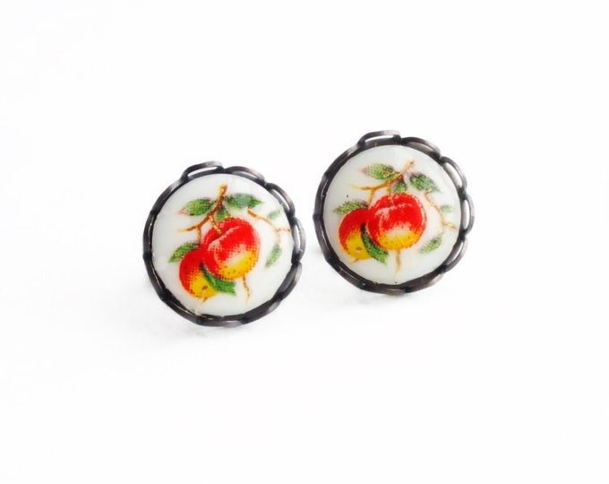 Red Apple Fruit Stud Earrings Small Cameo Post Earrings Hypoallergenic Fruit Cameo Studs Red Apple Jewelry Orchard Apple Tree