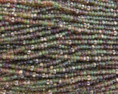 6/0 Aged Striped Picasso Mediterranean Forest Blend Czech Glass Seed Beads - 20 Inch Strand (DW231)