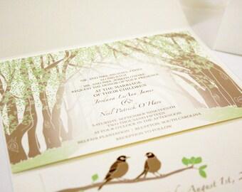 Tunnel of Trees Wedding Invitation, Sample, Love Birds Invitation, Pocketfold, Destination Wedding, Country Weddings Rustic Invitation, Tree