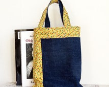 Small Tote Bag | Lunch Bag | Yellow Print and Denim Tote