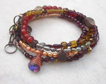 multi row bead bracelet, bohemian wrap bracelet, garnet bracelet, ethnic, boho, long beaded necklace, copper bracelet, red, brown, orange