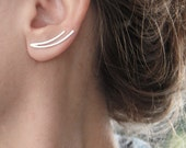 Ear climbers, ear cuff, Gift, Girlfriend, Sterling Silver Two curved Lines ear pins, Single or Pair, Minimalist Ear crawlers, Gift for women