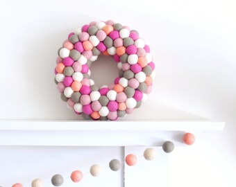 Felted Wreath, Felt Ball Home Decor, Coral Grey and Pink, Nursery Decorations, Gumball Wreath