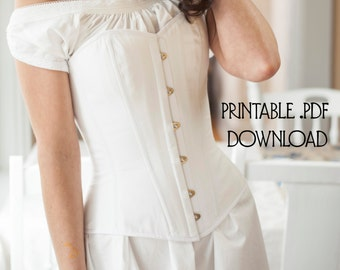 PDF Corset Pattern size XS, Printable Victorian Corset Sewing Pattern for Civil War, Bustle Era, Romantic, Instructions Included