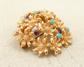 SALE --- Vintage Goldplated Dimensional Flower Dome Purple and Blue Gem Brooch Trombone Clasp