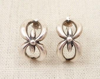 SALE --- Vintage Sterling Blooming Half Hoop Earrings