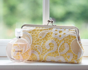 Canary Yellow Lace Clutch for Bridesmaids and Spring Weddings