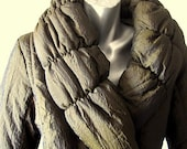 Vintage 80s Olive Green Puffy Lapel Winter Coat Size L