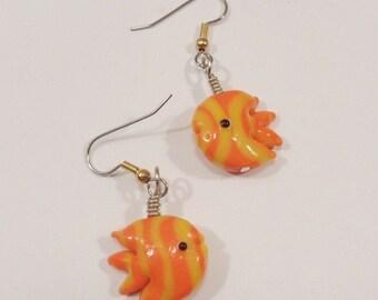 Fish earrings Glass fish earrings orange