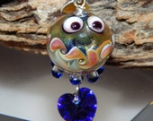 Lampwork Squeedle Charm Clip Rose Purple Green Cobalt Octopus Large Clip Purse Charm Cute Character Swarovski Crystal Heart