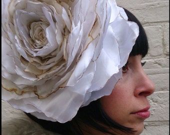 Rustic rose wedding flower headpiece, huge vintage recycled ivory cream silk satin